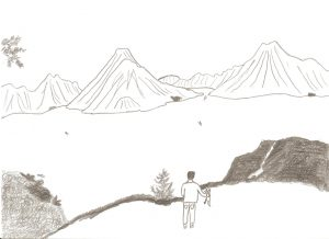 Manuel y su perro Baguira en el lago Atitlan Dibujo de Daniel Mora Serrano